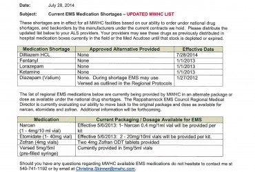 Updated MWH EMS Medication Shortages