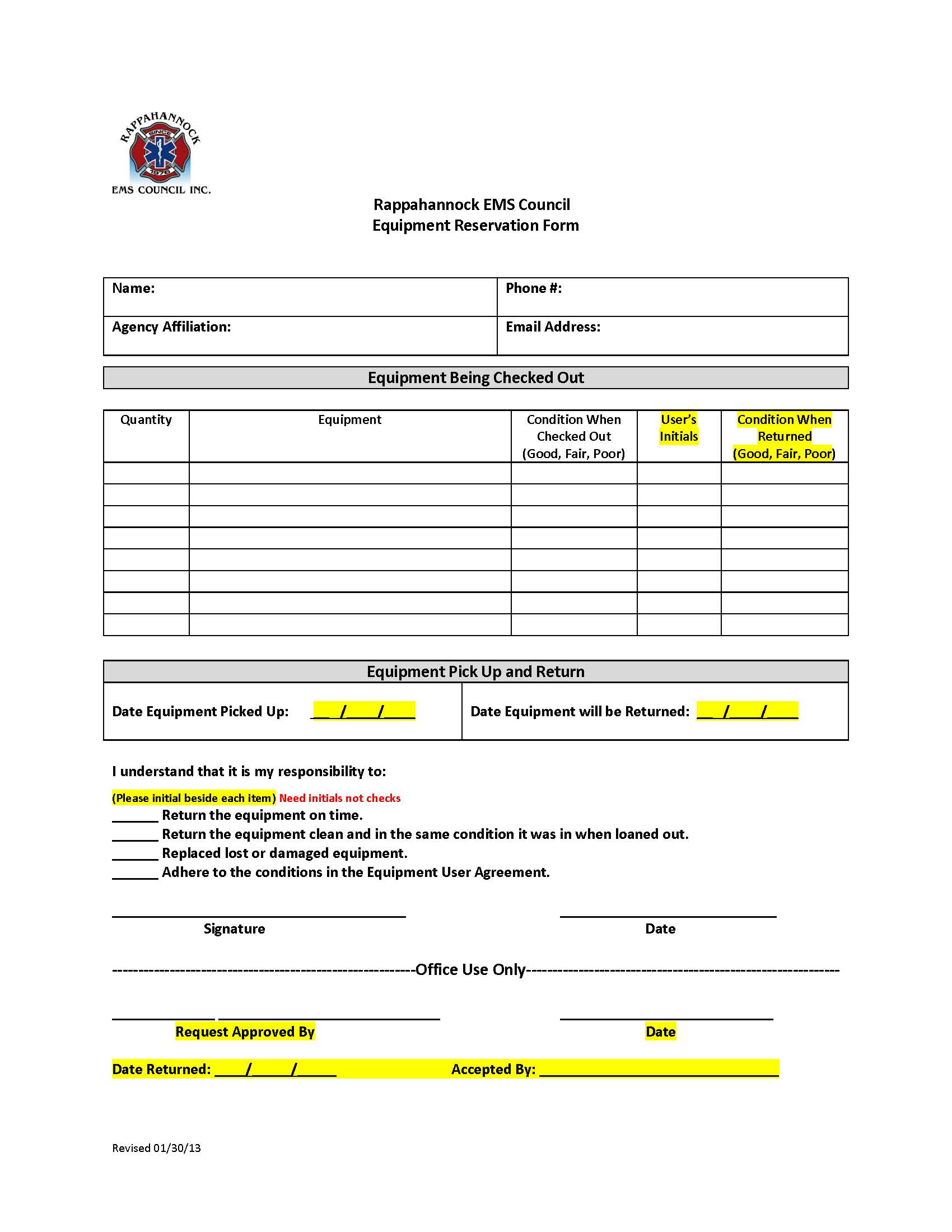 Equipment Loan Program Rems Council