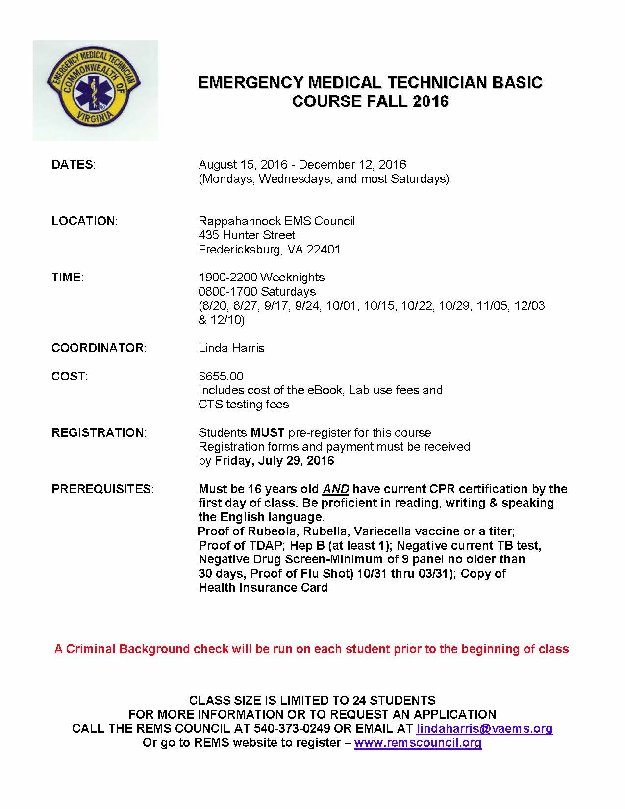 Rems emt class fall course begins 81516 rems council emt basic fa16 flyer 1betcityfo Gallery